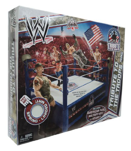 Mattel Wwe Wrestling Fan Central Exclusive Tribute To The Troops Ring Includes American Flag, Military Vest Helmet !